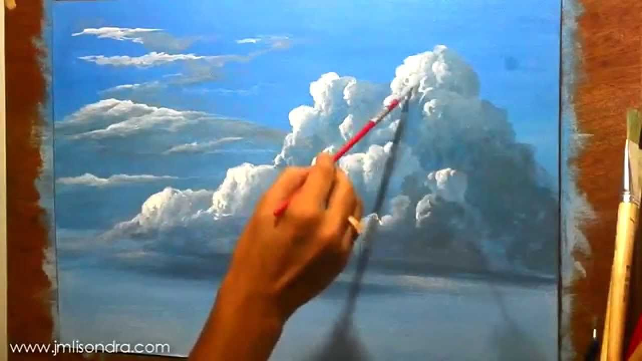 How To Paint Clouds In Acrylic Instructional Painting Lesson By Jm Lisondra Landscape Painting Lesson Painting Lessons Painting Tutorial