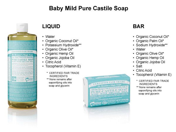 dr bronner 39 s pure castile soap among its uses body wash shampoo baby shampoo laundry. Black Bedroom Furniture Sets. Home Design Ideas