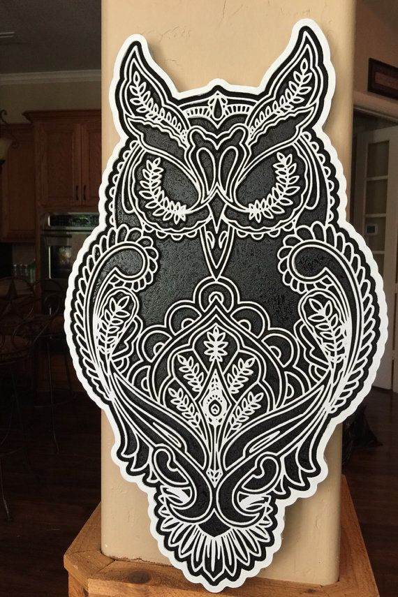 Custom Engraved 20 Quot Large Tattoo Owl Wall Art Owl Wall Art Owl Tattoo Large Tattoos