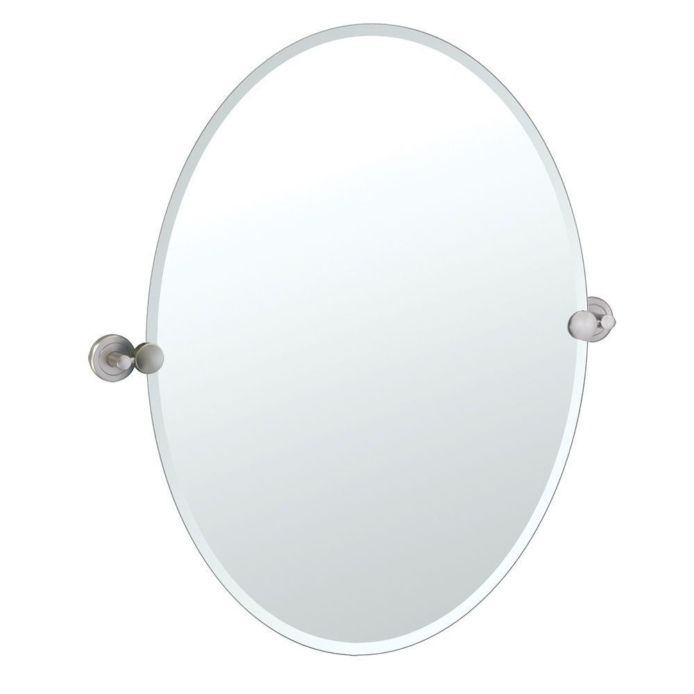 Gatco Latitude Ii 27 In X 23 In Beveled Oval Single Mirror In Satin Nickel 4299 The Home Depot Gatco Satin Nickel Hardware Oval Mirror [ 1000 x 1000 Pixel ]
