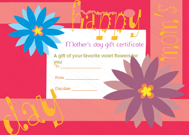 Greek Anemone MotherS Day Gift Certificate Template  Beautiful