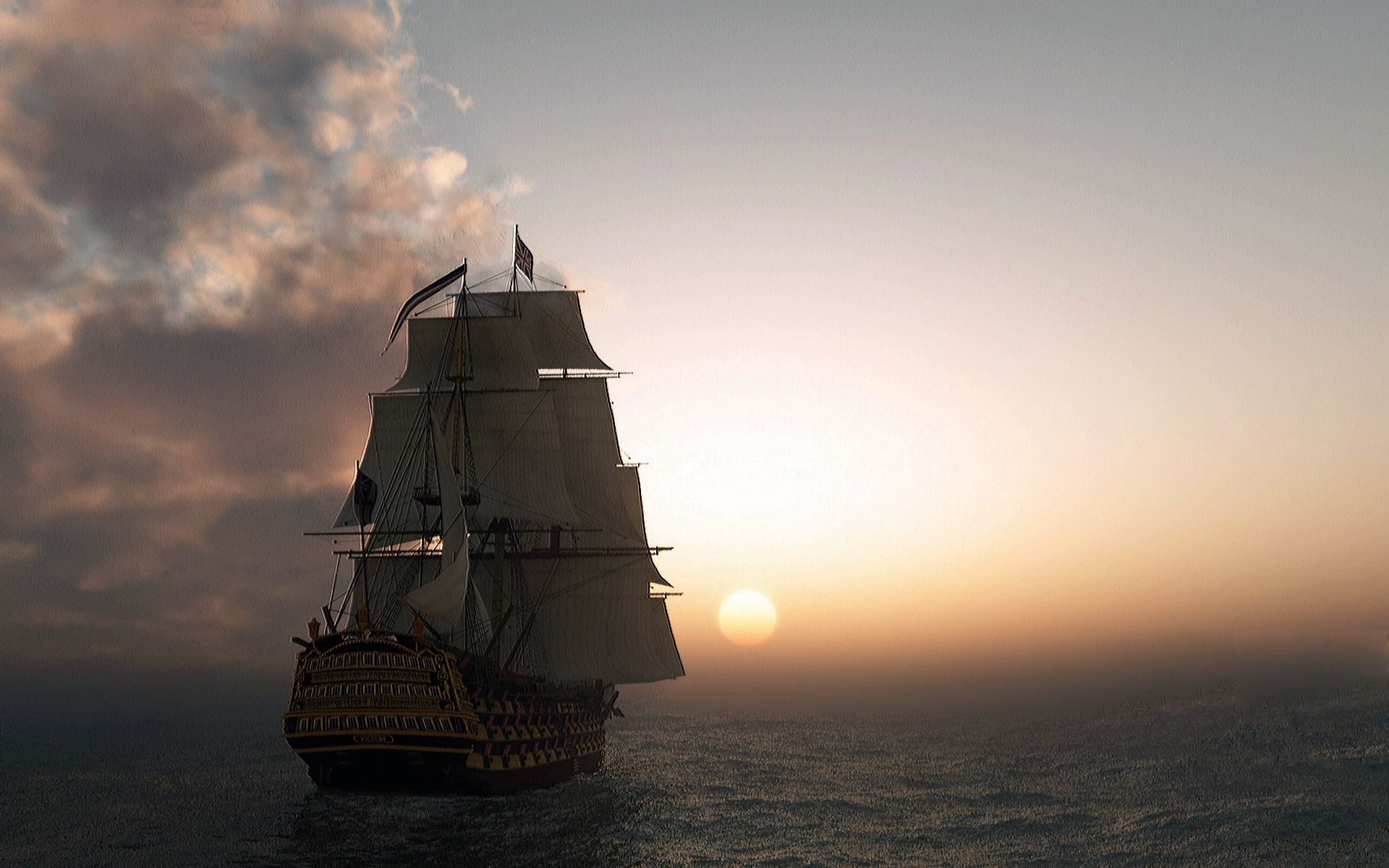 Обои корабль, парусник, Облака. Пейзажи foto 12