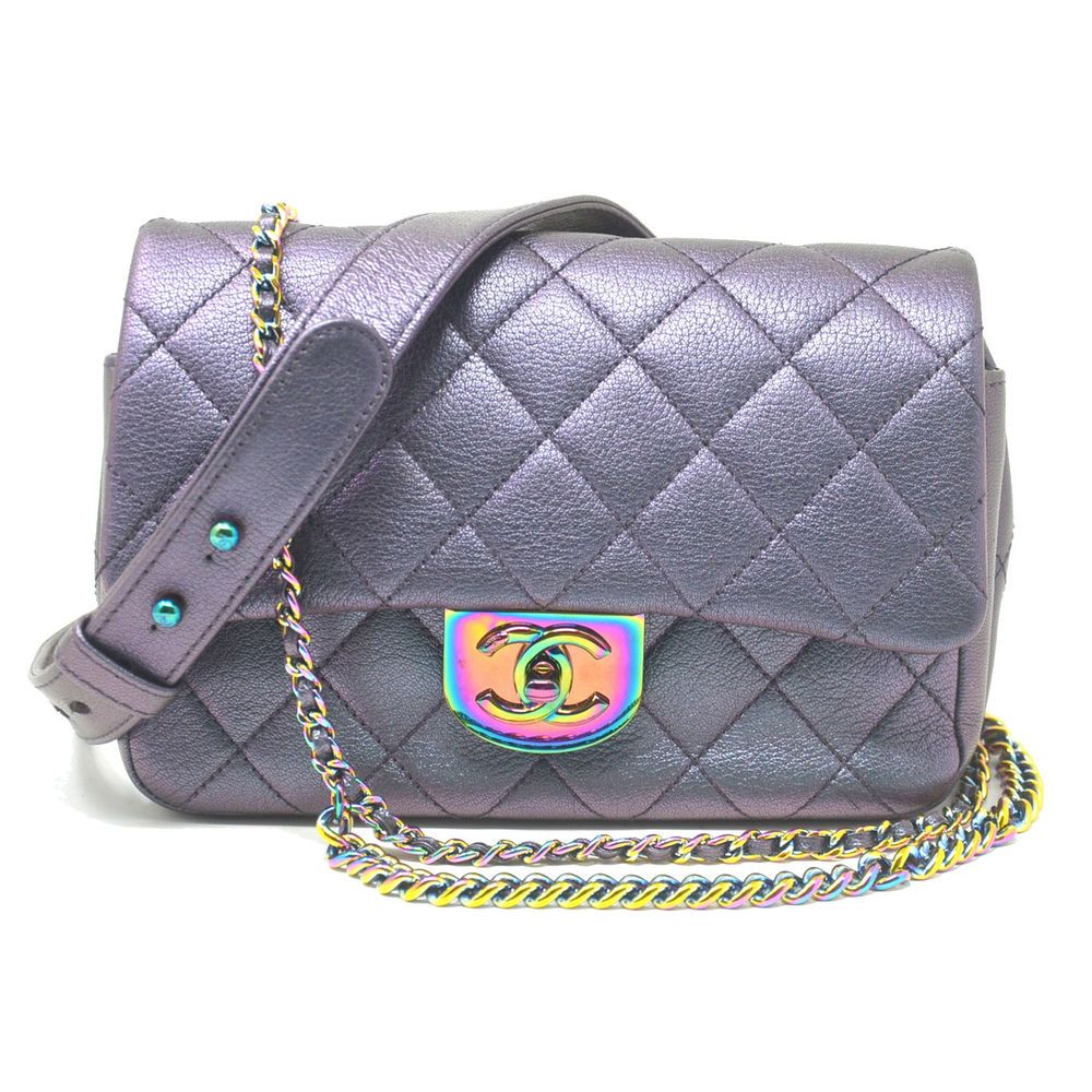 9f42ed0a246 You are Viewing this Chanel Iridescent Quilted Small Double Carry Waist  Chain Flap Purple Handbag. Model Iridescent Quilted Small Double Carry  Waist Chain ...