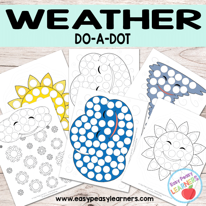 free weather do a dot printables sun cloud tornado and snow 1st grader do a dot. Black Bedroom Furniture Sets. Home Design Ideas