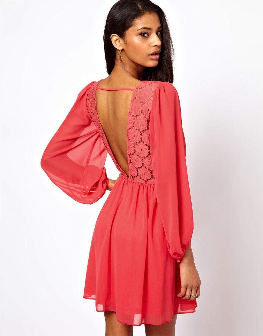 Asos wrap dress with blouson sleeve u lace back in orange thereus