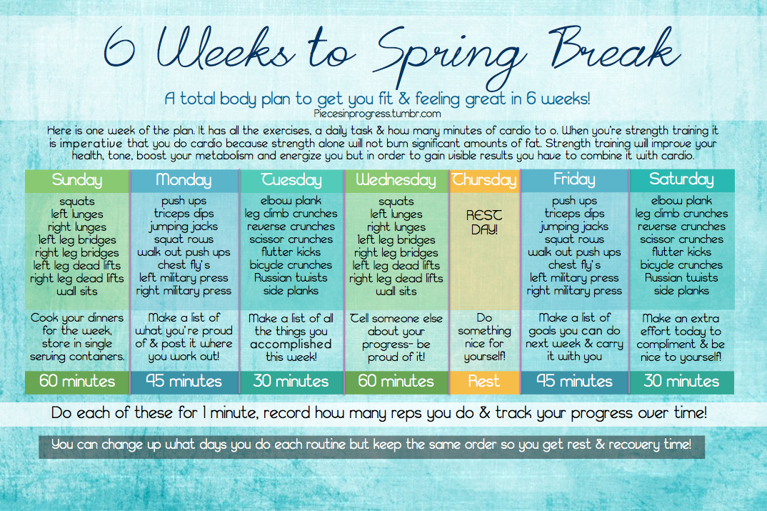 6 Weeks To Spring Break At Home Workout Plan! ... | Pieces In Progress:  Living Fit, Healthy, U0026 Happy!