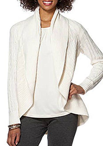 4b93c3e069 Chaps Womens Petite Cable-knit Long-sleeve Cardigan Sweater