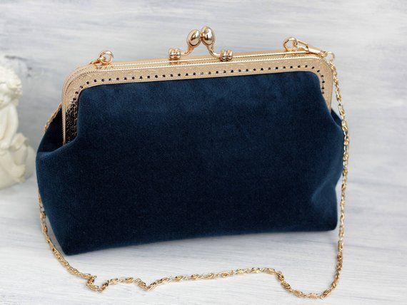 8a6357c6cd953 Velvet clutch Dark Turquoise Blue Velvet Evening Clutch clasp ...