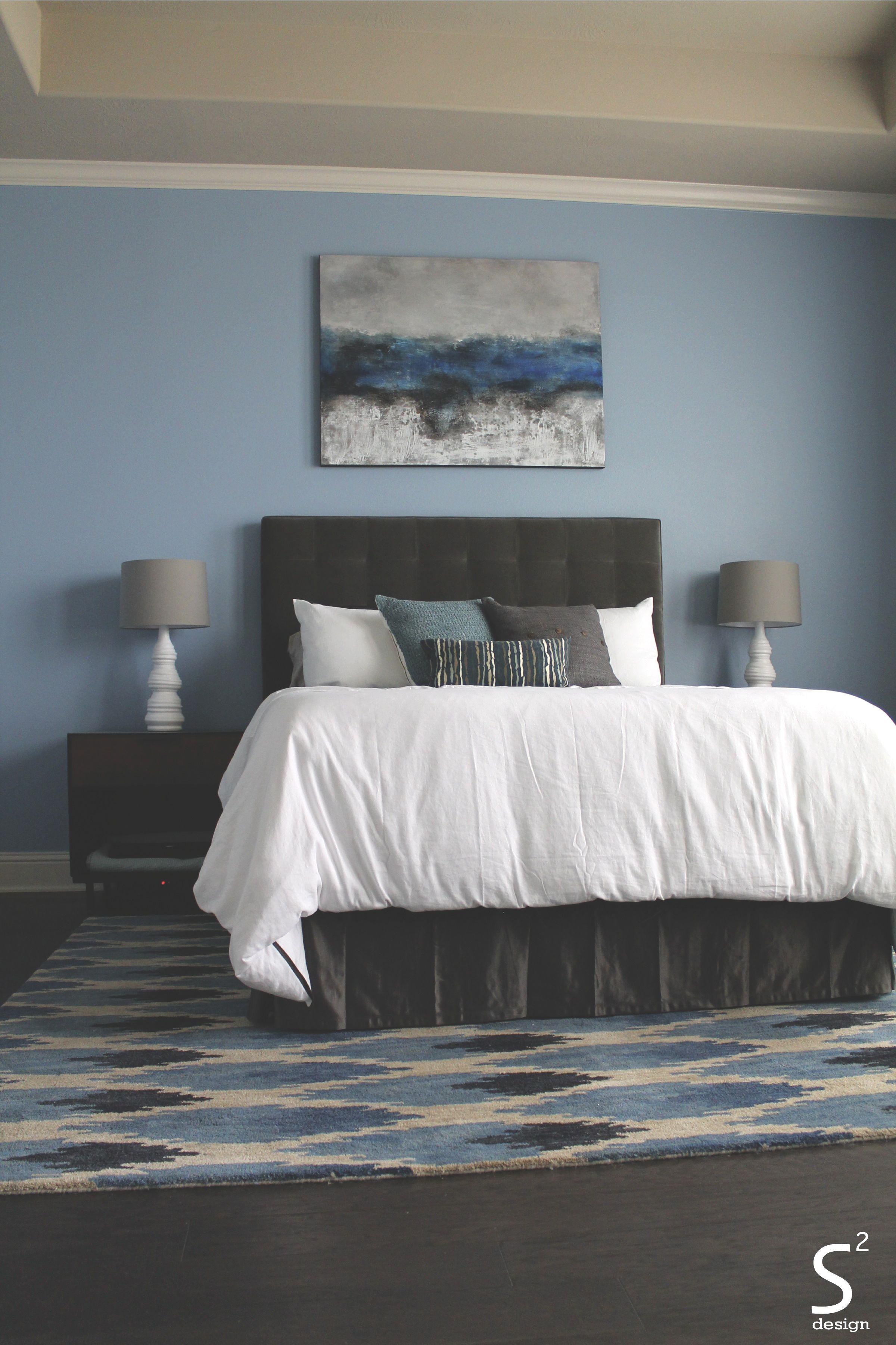 modern blue master bedroom. Modern Blue Master Bedroom White Linens Grey Tufted Headboard Walls - S Squared Design