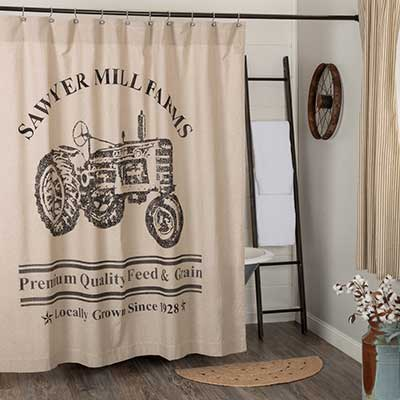 Sawyer Mill Charcoal Tractor Shower Curtain Accessorize Your