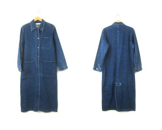 8deb7dbfb Floor Length Jean Jacket Denim Duster Coat Long Vintage Coat 90s Cowgirl  Ranch Coat Button Down Deni