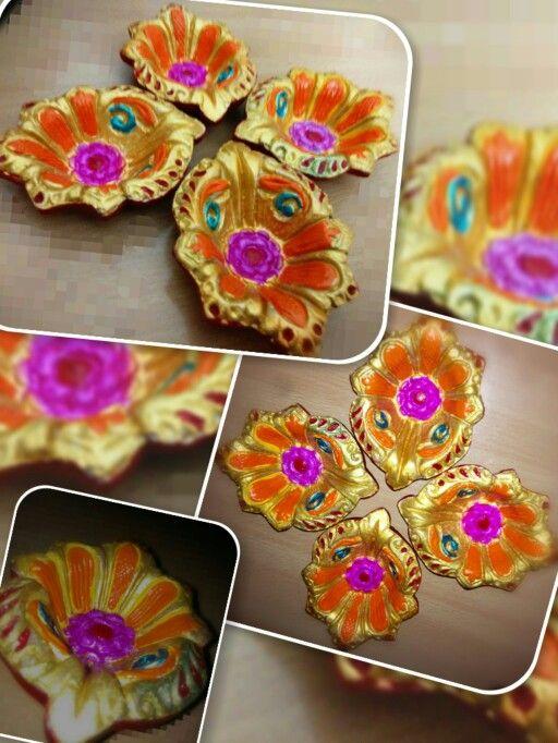 Golden flower style diya