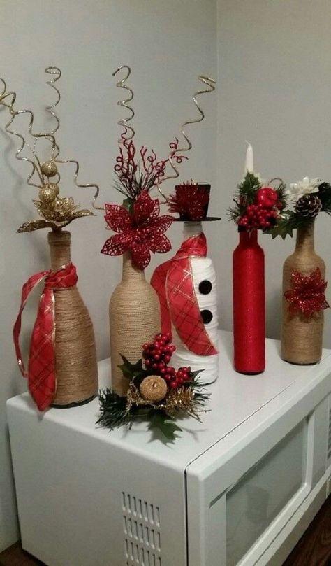 Decoraciones de botellas para Navidad decoracion navideña