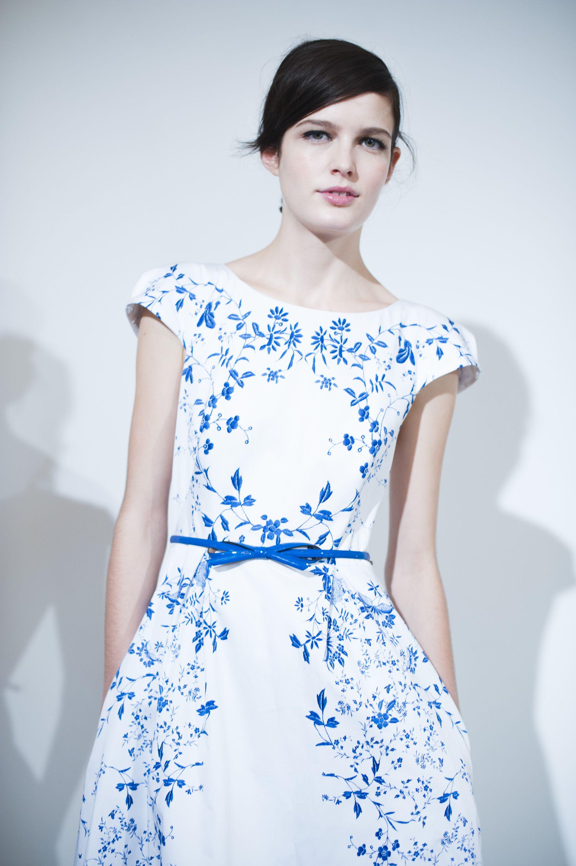 Hobbs Invitation Blue White China Placement Pattern Dress Fashion