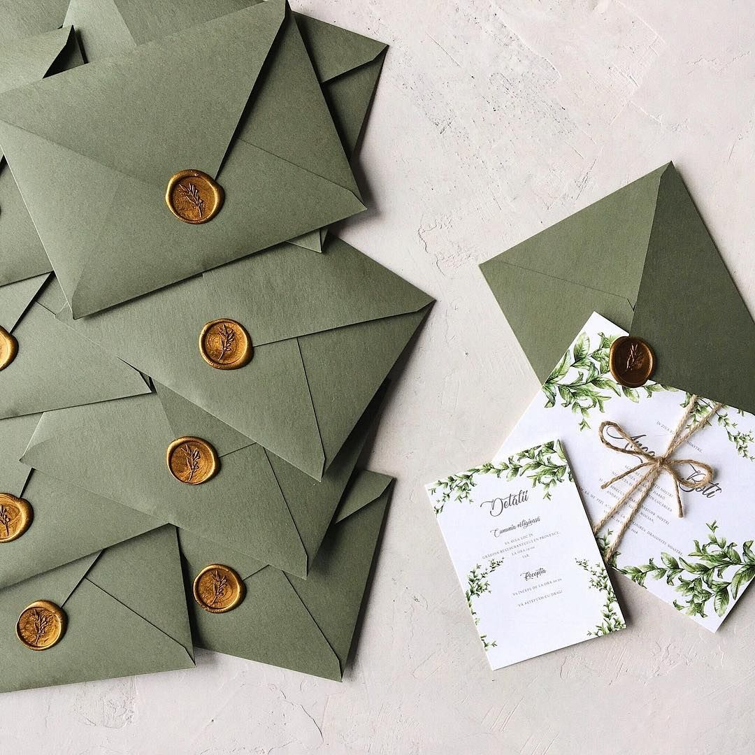 Greenery wedding invitation with handmade envelope and wax