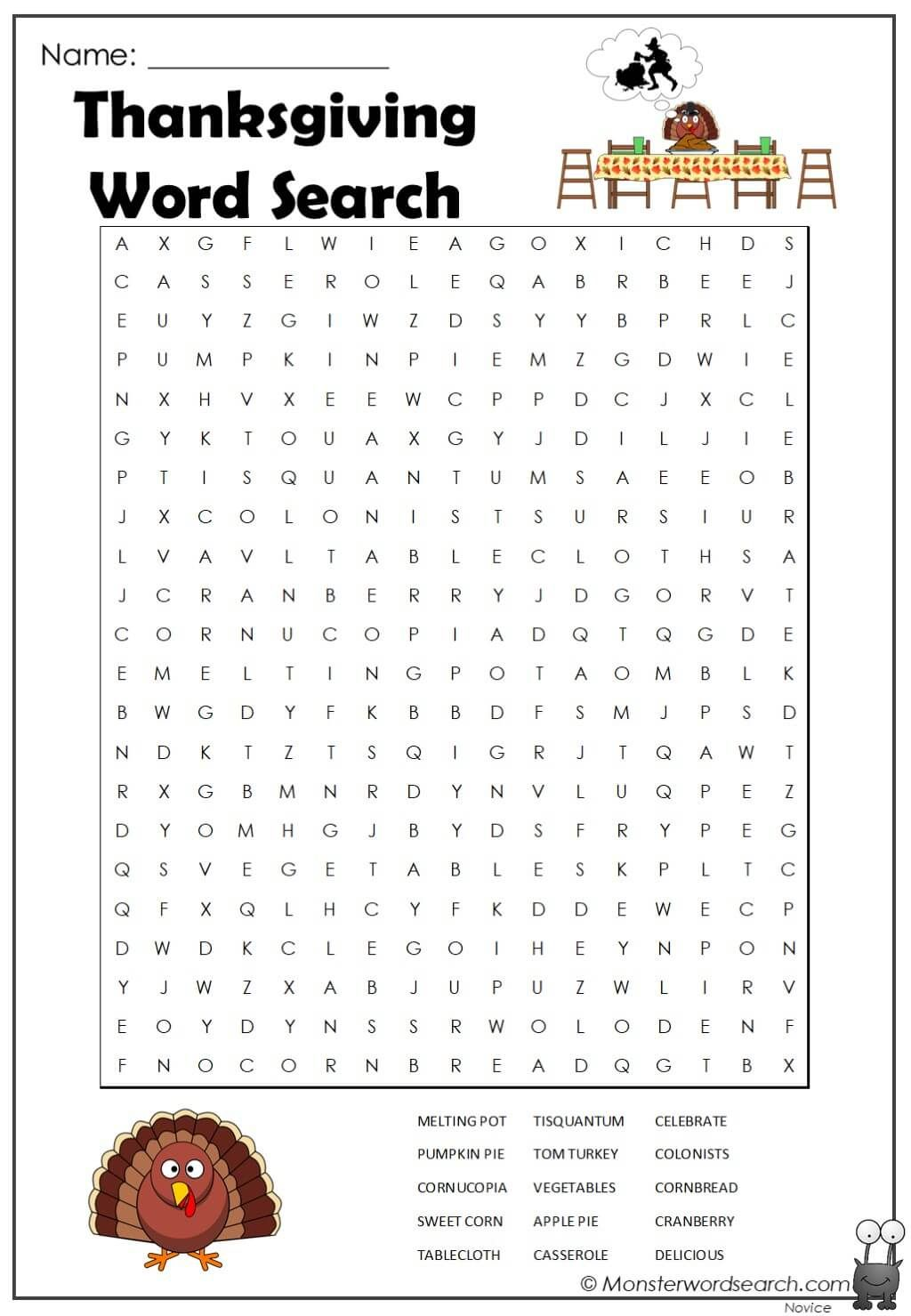 Thanksgiving Word Search In