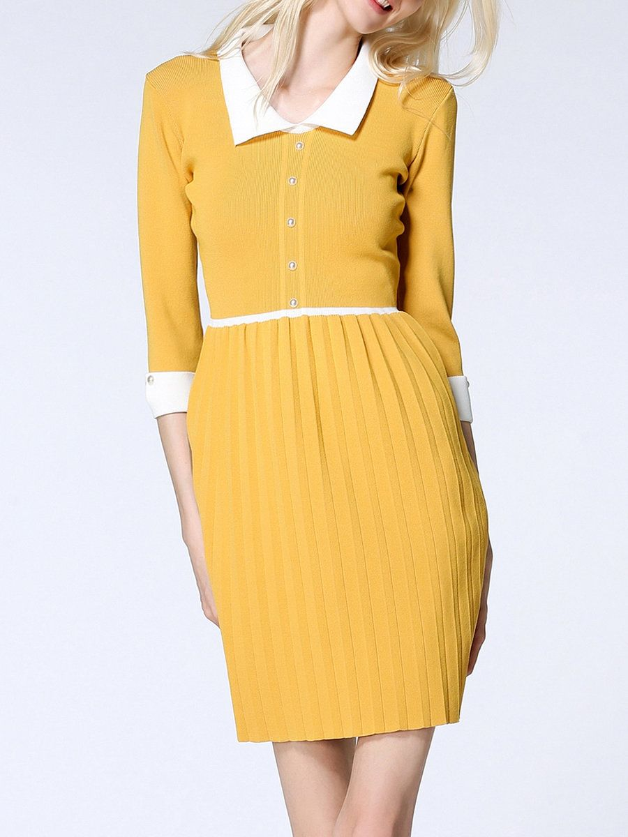 #AdoreWe #StyleWe Sweater Dresses - Designer ALLRMA Half Sleeve Solid A-line Sweater Dress - AdoreWe.com