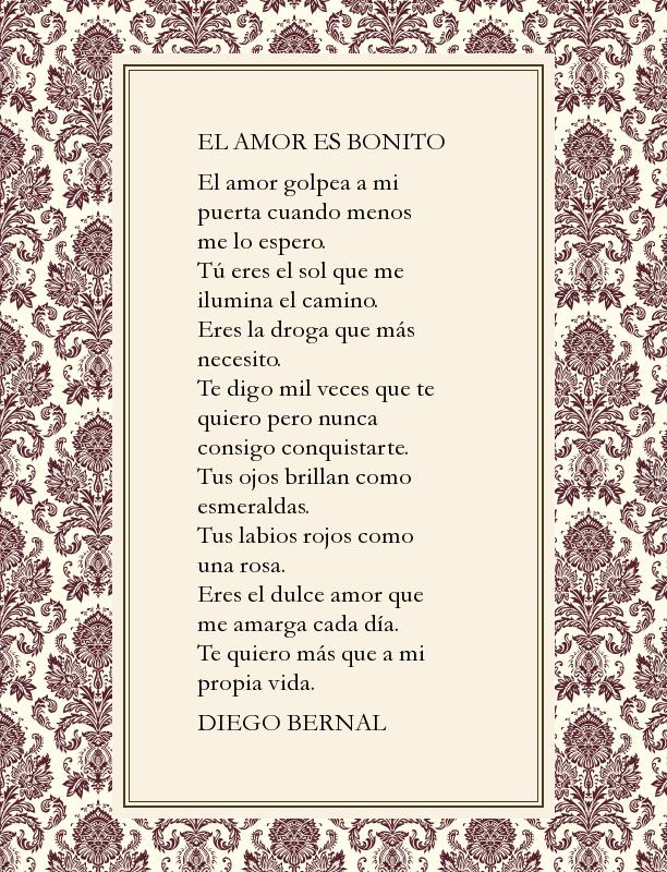 El Amor Es Bonito De Diego Bernal Antología De Pequeños