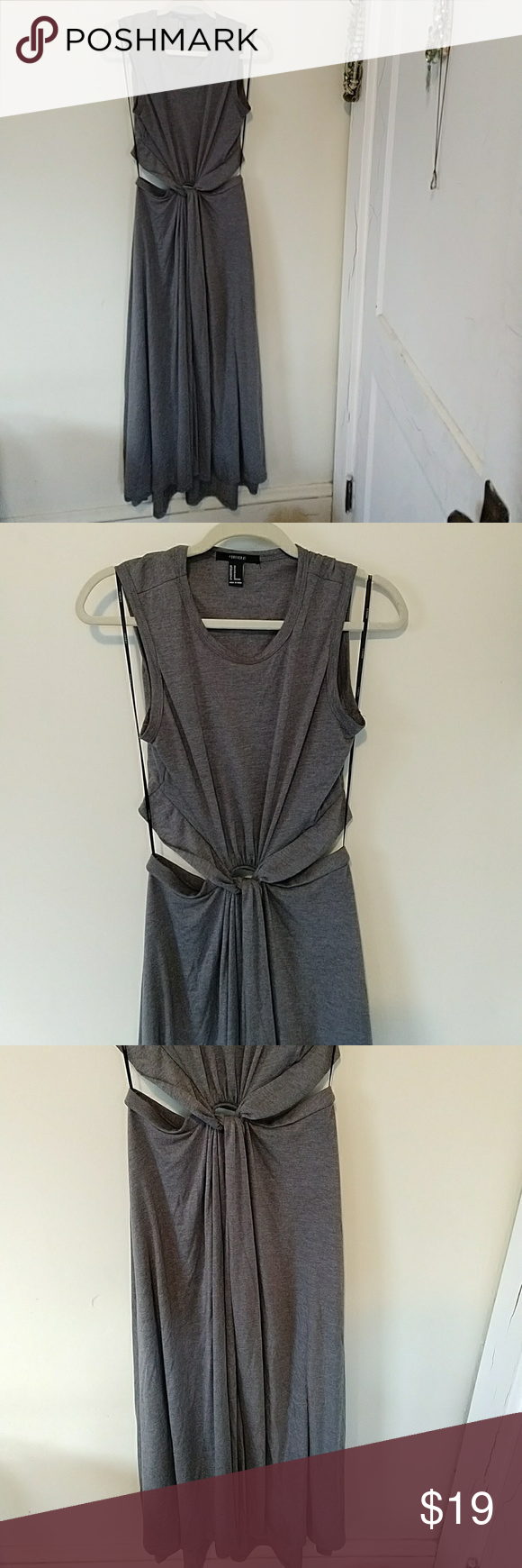 Forever gray knot front open back maxi dress m my posh picks