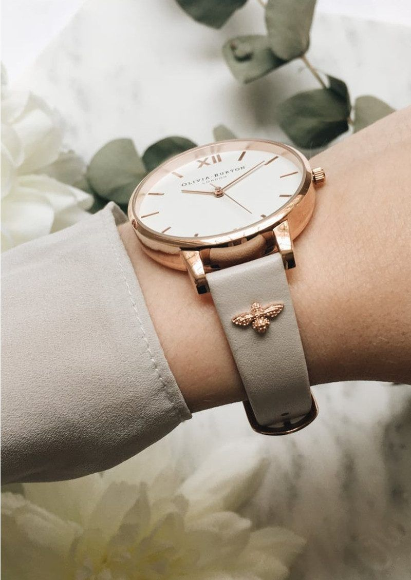7ad0439a4606 Olivia Burton 3D Bee Embellished Strap Watch - Blush   Rose Gold main image