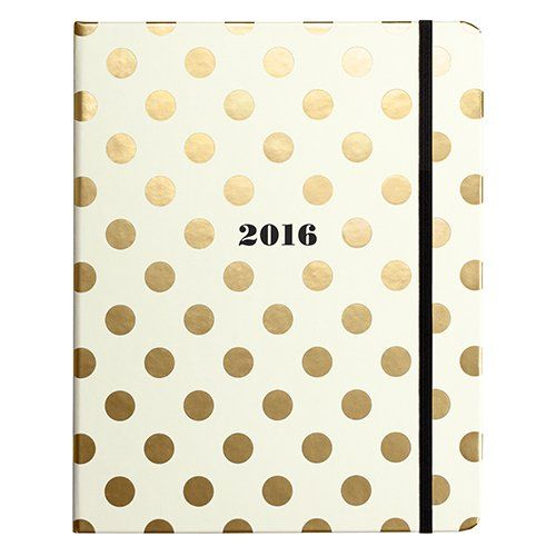 Kate Spade New York Large 17 Month Covered Spiral Agenda Gold Dots