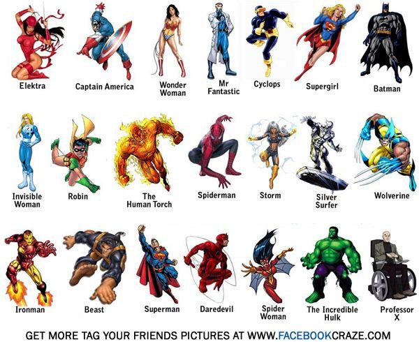 13 Geeky Facebook Friend Tagging Images Nombres De Superhéroes Imágenes De Superhéroes Cartel De Superhéroes