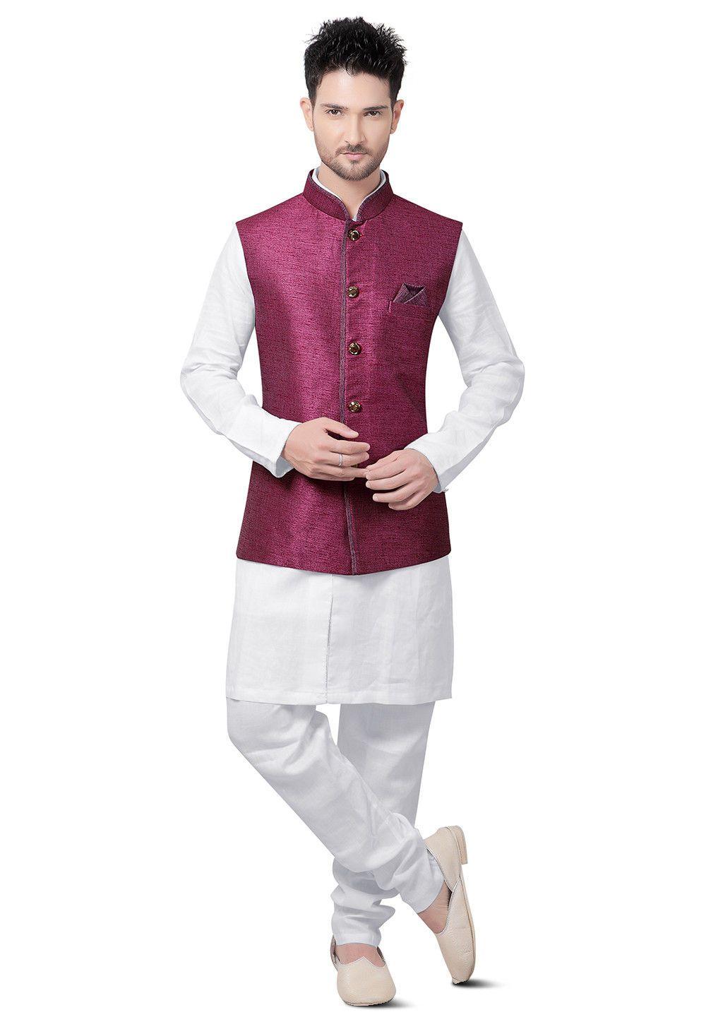 Readymade cotton linen collar neck and full sleeve kurta in white