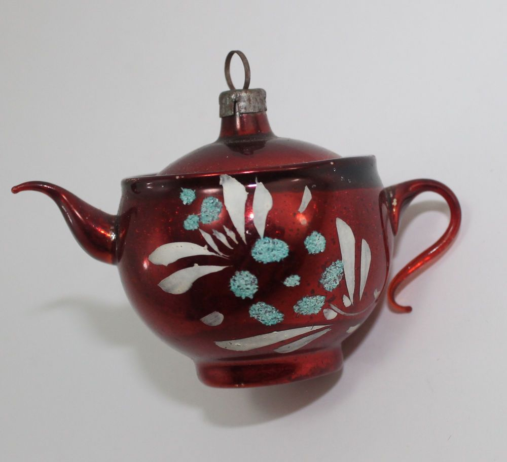 Vintage Mercury Glass Mica Red Teapot Christmas Ornament Germany With Images Tea Pots Red Teapot Mercury Glass