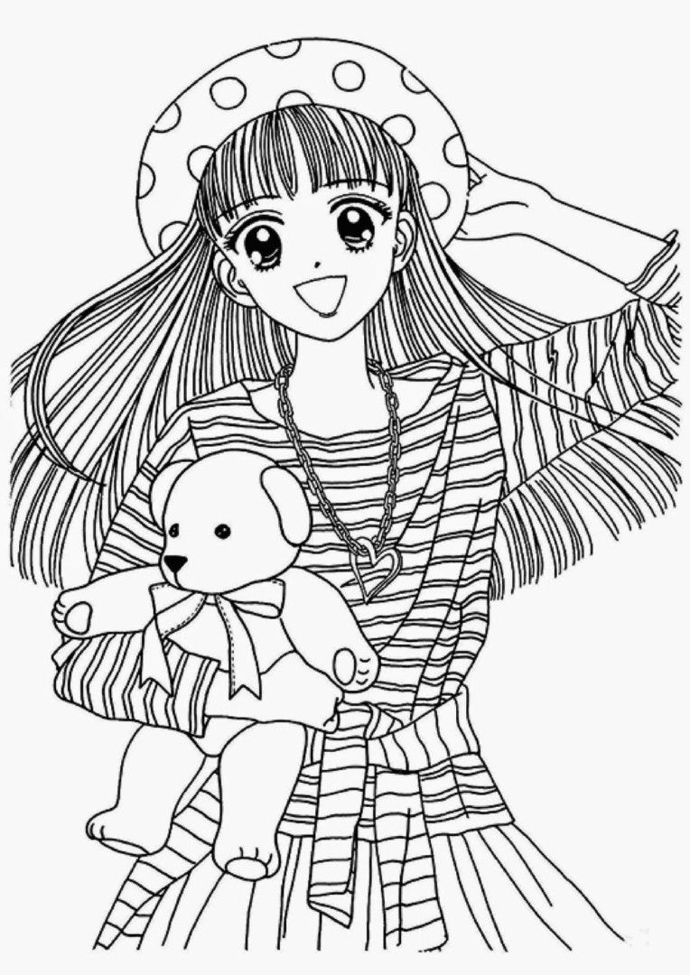 Japanese Anime Coloring Pages For Girls Colorear Anime Dibujos