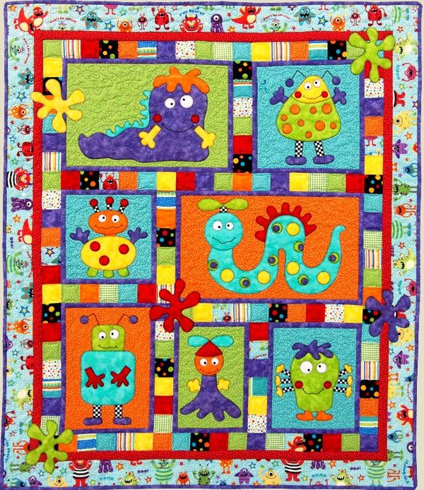 MONSTER PATCH Quilt Pattern ~ Adorable Applique and Pieced Quilt ... : cot quilt designs - Adamdwight.com