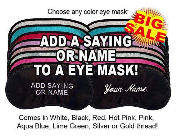 9 Wedding Party Custom Made Embroidered Eye Mask - Bride - Mother of the  Bride -