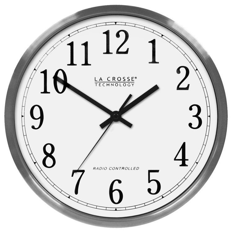 Kitchen Wall Clock Stainless Steel Atomic Battery Powered Second