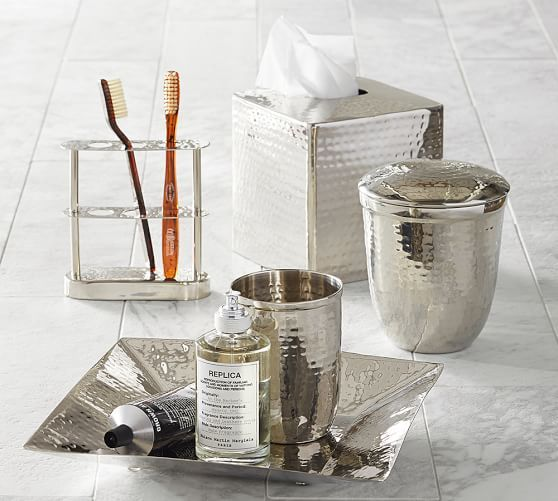 Charmant Hammered Nickel Bath Accessories | Pottery Barn