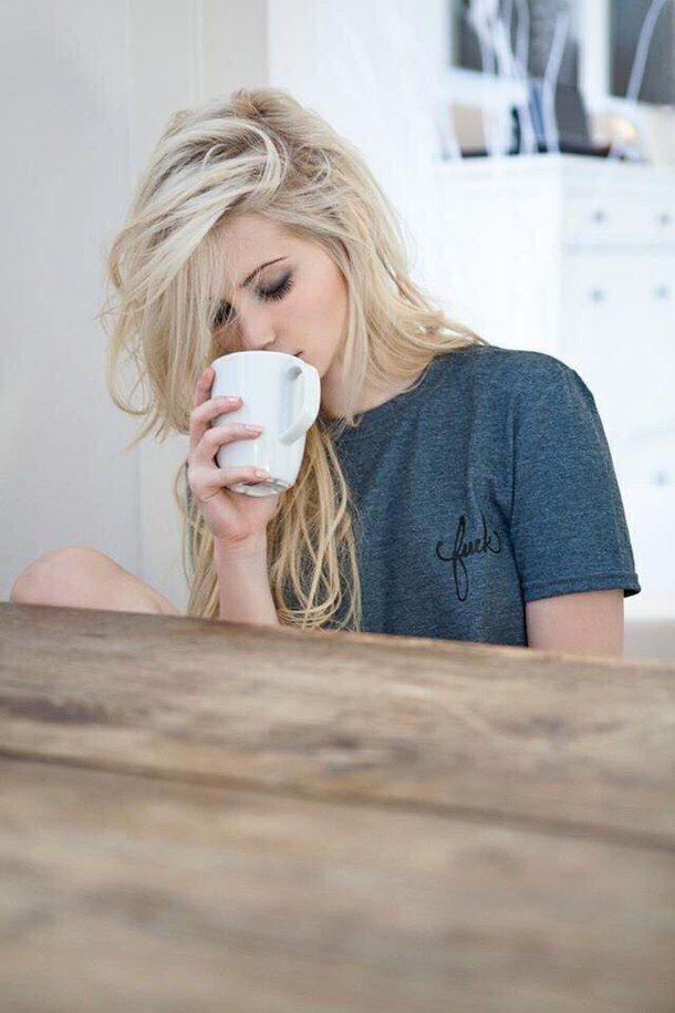 Amazing Beautiful Blonde Coffee Cool Drinking Girl Hype