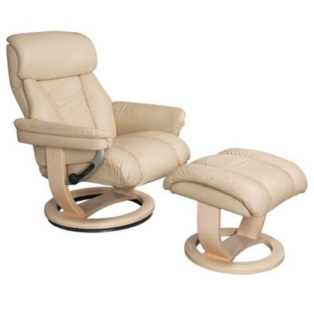 Global Furniture Alliance Mars Leather Swivel Recliner Footstool In Cream