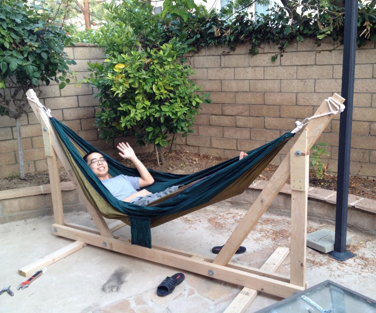 Diy wooden hammock stand stef pinterest hammock stand and