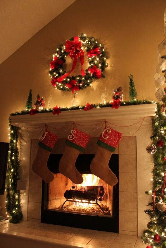 25 Beautiful Christmas Fireplace Decorating Ideas | Christmas Celebrations - 50 Most Beautiful Christmas Fireplace Decorating Ideas House Ideas