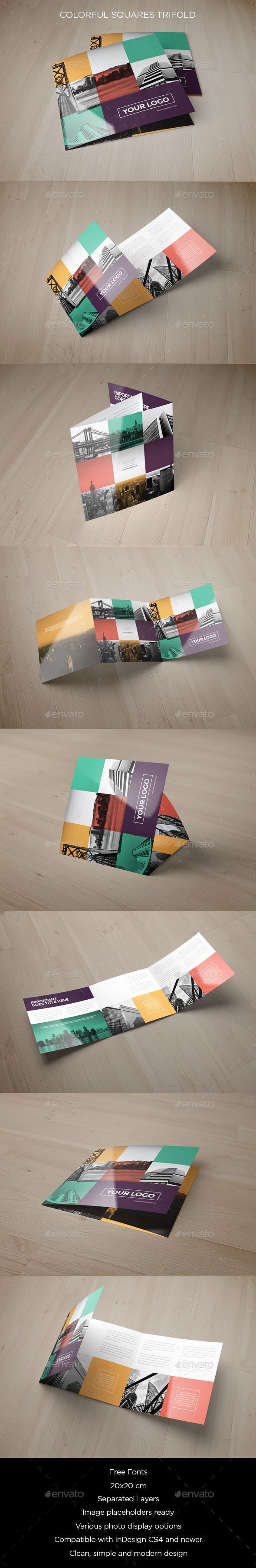 Colorful Squares Trifold — InDesign INDD #square #business • Available here → https://graphicriver.net/item/colorful-squares-trifold/9032815?ref=pxcr
