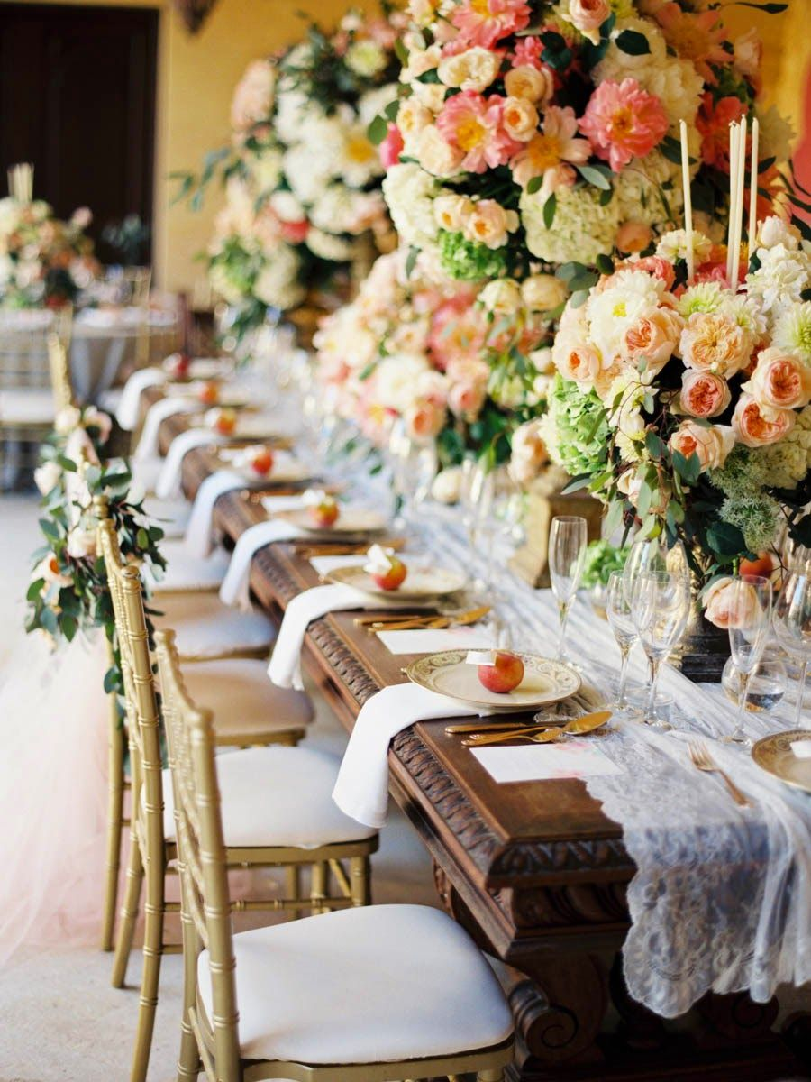 Wedding dinner decoration ideas  Gorgeous Tablescape with lace table runner  Tablescapes