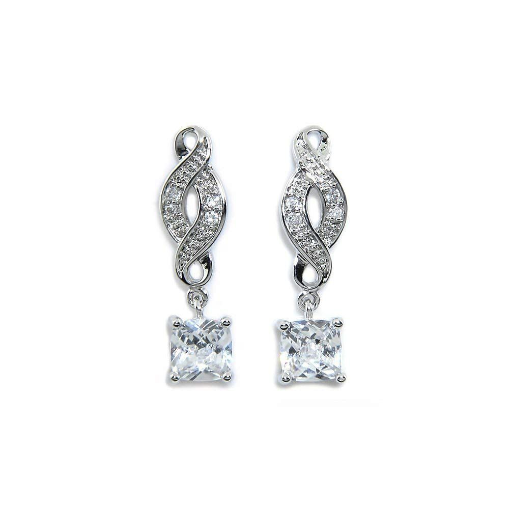 Cate And Chloe Iris Le 18k White Gold Infinity Drop Earrings Twilight Sparkling Cz Diamond