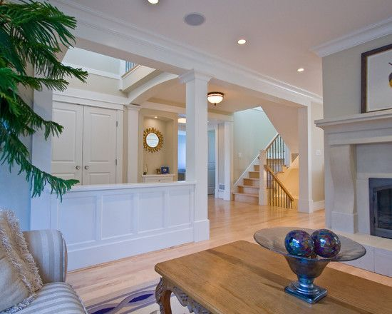 Living Room Half Wall With Column Design Pictures Remodel Decor And Ideas Like How It Still Gives An Open Feel Columns