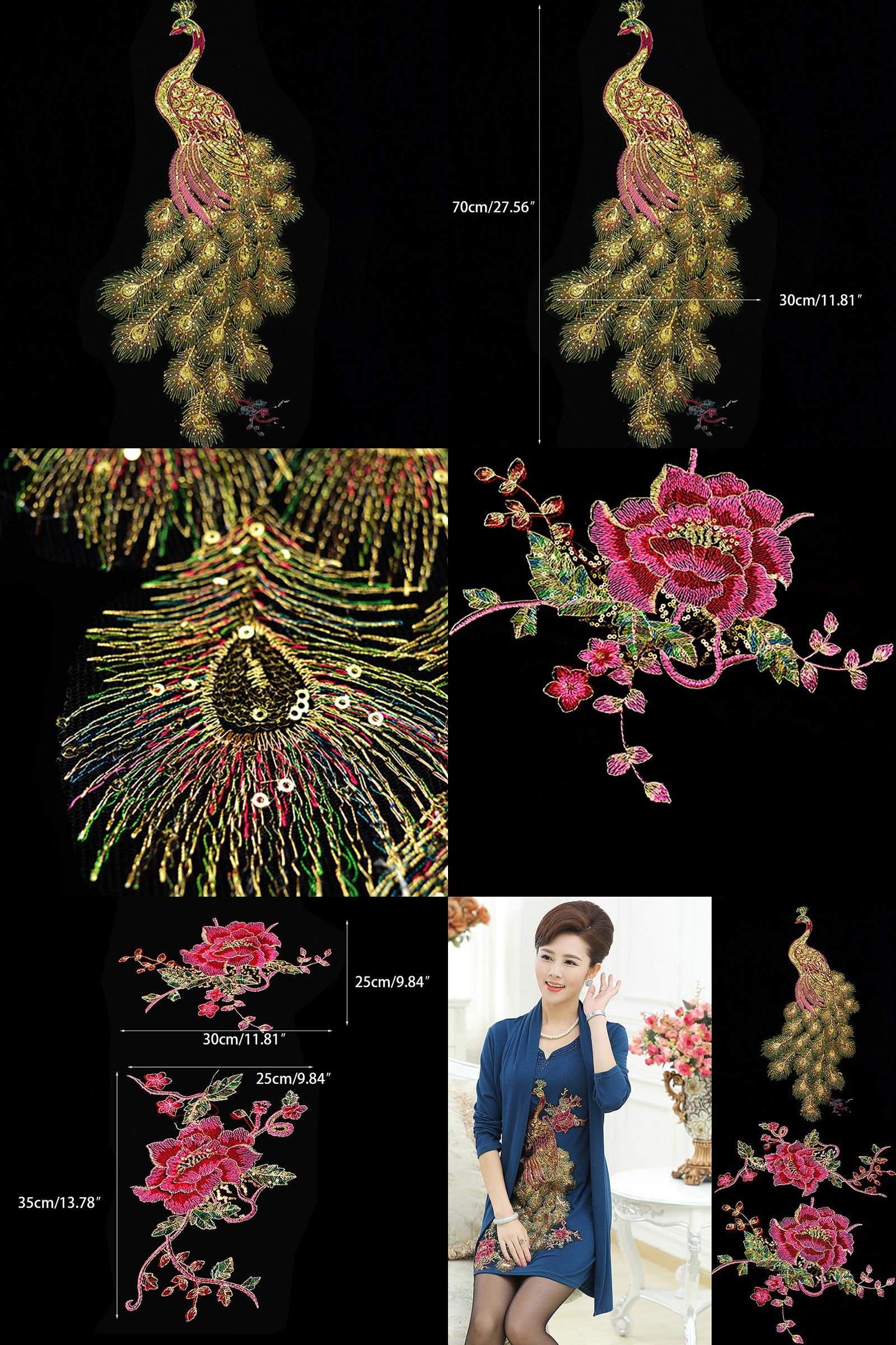 046a46afe7686 Visit to Buy] DIY Peacock Flower Sequins Embroidered Patches For ...