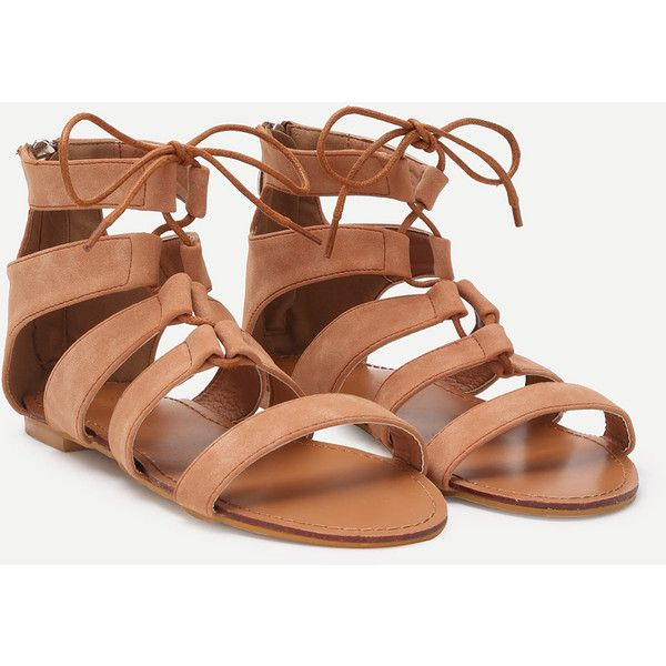 889f0782572 Brown Peep Toe Caged Cut Out Gladiator Sandals ( 15) ❤ liked on Polyvore  featuring