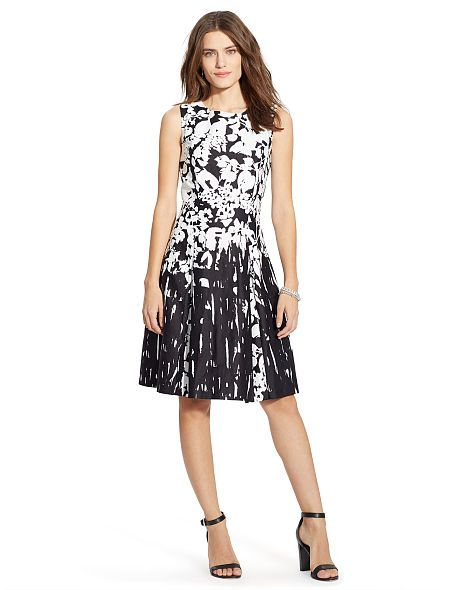 Floral Pleated Sateen Dress - Lauren Short Dresses - RalphLauren.com