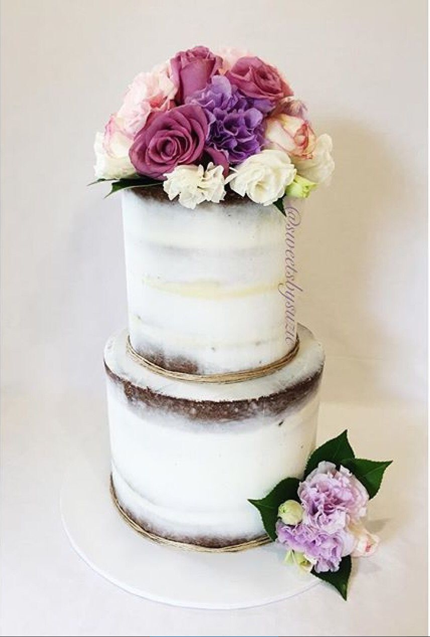 Semi naked engagement cake with fresh florals made by Sweetsbysuzie ...