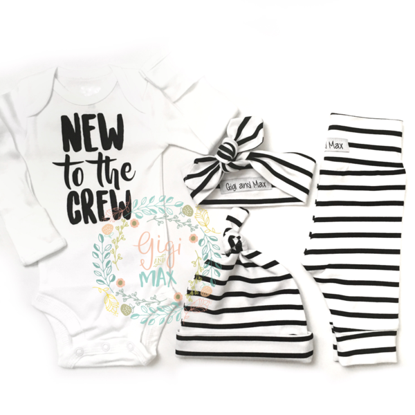 Welcome Home Baby Boy Quotes: Gender Neutral New To The Crew Set Wide Stripe