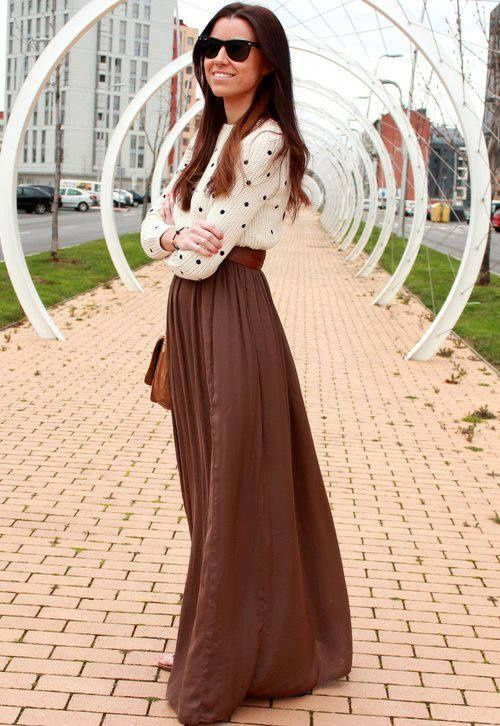 Fall maxi skirt and long sleeve