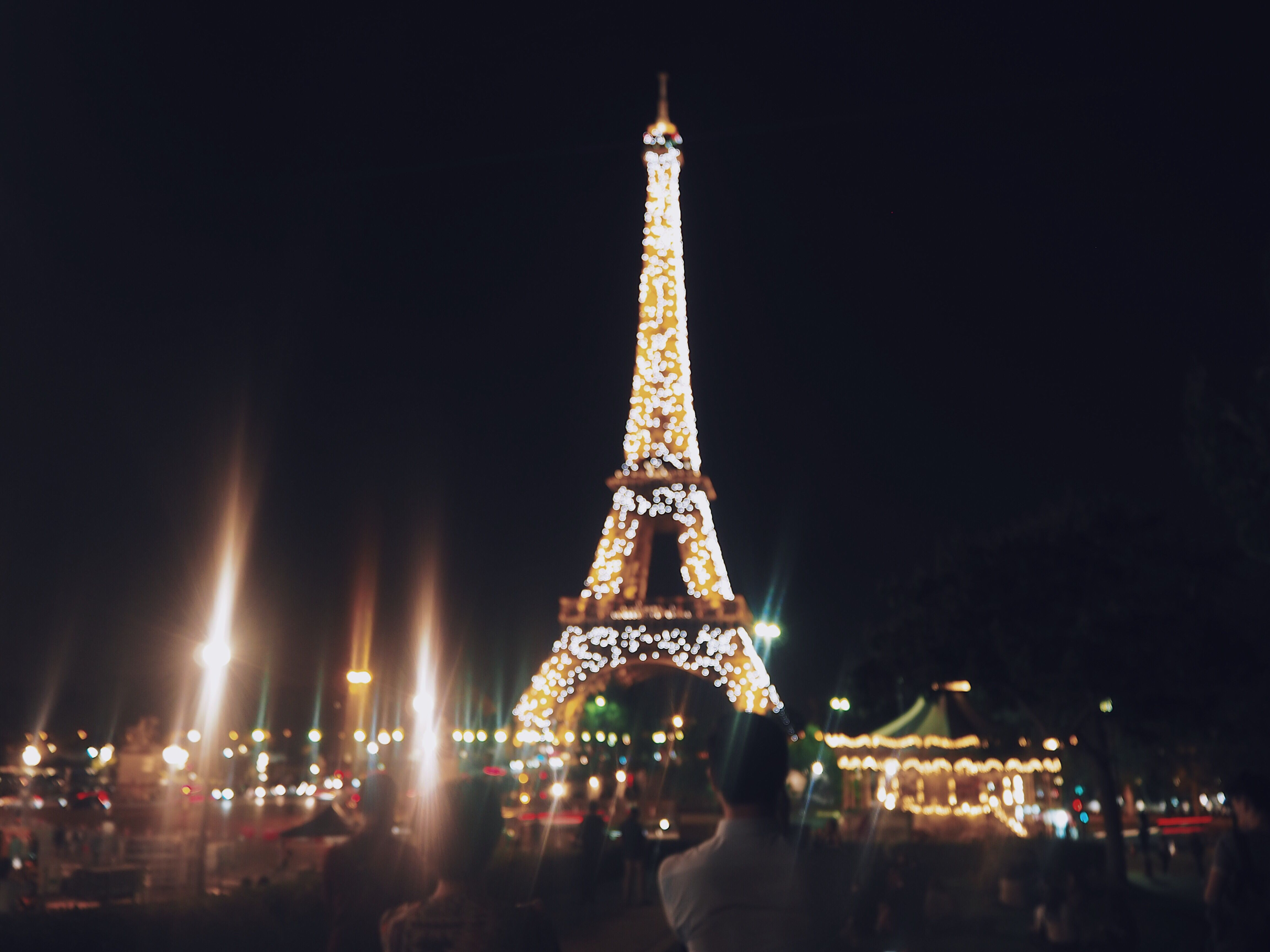 Sparkling Eiffel Tower At Night In September 2018 Paris