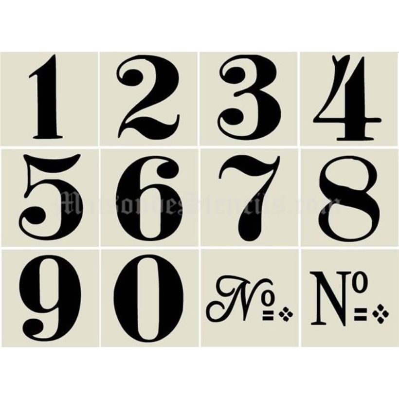 Maison De Stencils - Old World Numbers SKU 647 $3500 3 X 3 ea - number template