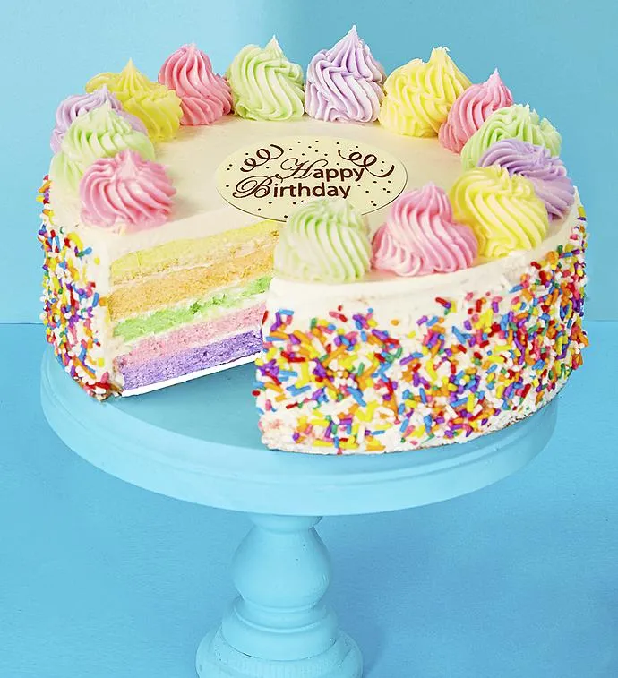 Bake Me a Wish! Happy Birthday Rainbow Cake FLOWERS in